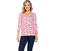 Susan Graver Printed Stretch Cotton Modal Square Neck Top - A286720