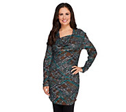 As Is View by Walter Baker Snake Print Drape Neck Knit Tunic - A287220