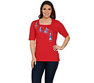 Quacker Factory Seaside Escape Square Neck Elbow Sleeve T-shirt - A288120