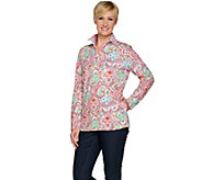 Denim & Co. Active Medallion Print French Terry 1/2 Zip Top - A288320