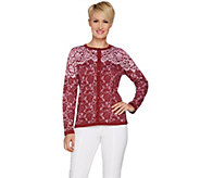 Bob Mackies Lace Print Long Sleeve Button Front Cardigan - A293820