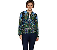 Attitudes by Renee Zip Front Solid or Printed Baseball Jacket - A296820