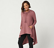 LOGO by Lori Goldstein Waffle Knit Cowl Neck Hoodie - A299620