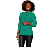 Susan Graver Textured Liquid Knit 1/2 Zip Tunic - A300520