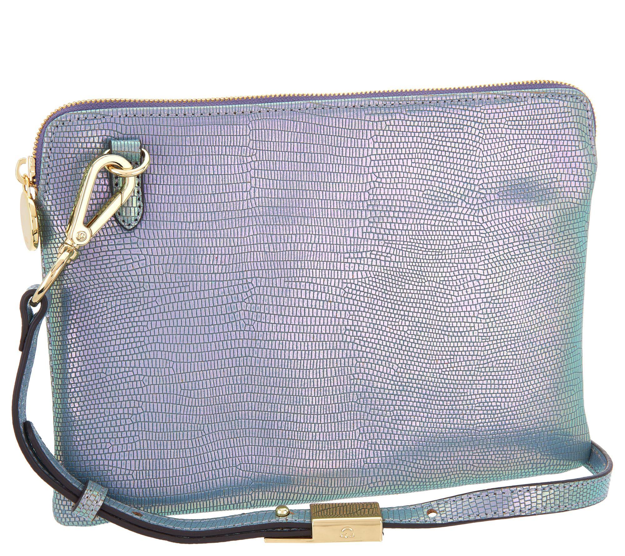 designer purse parties at home. G I L  Leather Iridescent Crossbody Pouch Handbag A301220 Handbags QVC com