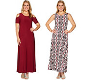 As Is Attitudes by Renee Petite Sld & Prntd Set of Two Dresses - A301820