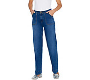 Isaac Mizrahi Live! TRUE DENIM Regular Wide Leg Cargo Jeans - A302220