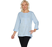 Martha Stewart Faux Pearl Embellished Stretch Poplin Tunic - A303220