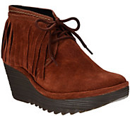 As Is FLY London Suede Wedge Fringe Lace-up Ankle Boots- Yank - A304520