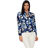 Studio by Denim & Co. Floral Print Zip-Front Bomber Jacket - A305320