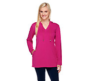 Denim & Co. Stretch French Terry Hooded V-neck Tunic - A75320