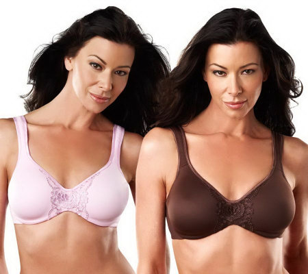 Breezies Set of 2 Seamless Applique Inset Microfiber Bras
