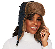 Collection XIIX Denim Trapper Hat with Faux Fur Trim - A217221