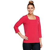 Susan Graver Essentials Liquid Knit 3/4 Sleeve Square Neck Top - A220621