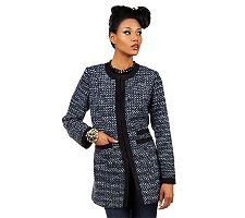 Luxe Rachel Zoe Tweed Jacket w/ Contrast Trim & Hook & Eye Closures