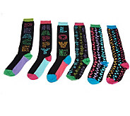 little missmatched 6-pk Peace, Love, & Stars Knee High Socks - A228521