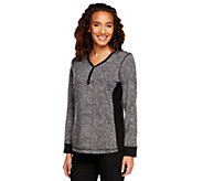 Denim & Co. Long Sleeve Animal Print Henley with Tonal Stitching - A229521