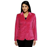 Denim & Co. Velveteen 3 Button Women's Blazer