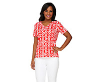 Denim & Co. Knit V-neck Tribal Print T-shirt - A232621