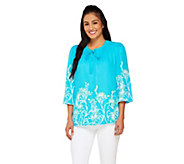 Bob Mackies Floral Print 3/4 Sleeve Button Front Blouse - A234121