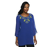 Susan Graver Solid Chiffon Tunic w/ Split Bell Sleeves and Embroidery - A234321