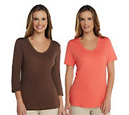 Liz Claiborne New York Essentials Set of 2 Knit T-Shirts - A234421