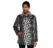 Dennis Basso Maxi Collar Leopard Print Faux Fur Jacket with Pockets - A239821
