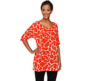 Dennis Basso Animal Print Cowl Neck Short Sleeve Knit Top - A252221