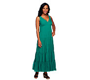 G.I.L.I. Regular V-Neck Tiered Silk Maxi Dress - A252921