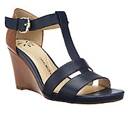 Isaac Mizrahi Live! Leather Color-Block Wedge Sandals - A253021