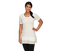 LOGO by Lori Goldstein Cotton Slub Top with Swiss Dot Hem Detail - A254021
