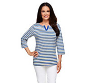 Denim & Co. Perfect Jersey Striped 3/4 Sleeve Split Neck Top - A255321