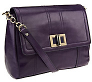As Is B. Makowsky Myra Glazed Leather Flap Shoulder Bag - A256121