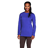 Denim & Co. Active Knit Sweatshirt with Side Panel Quilting Detail - A257721