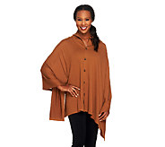 Joan Rivers Cape Style Knit Pullover Top with Buttons - A259021