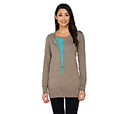 Linea by Louis DellOlio Whisper Knit with Contrast Inset Sweater - A259621