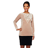 Bob Mackies Opulent Knit Sequined and Jeweled Top - A259821