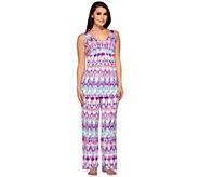 Carole Hochman Abstract Ikat Knit Jersey 2-Piece Pajama Set - A262421