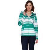 Susan Graver Weekend Striped French Terry Zip Front Jacket