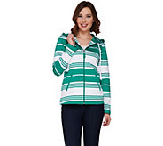 Susan Graver Weekend Striped French Terry Zip Front Jacket w/Hood - A263021