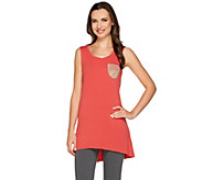 LOGO by Lori Goldstein Scoop Neck Knit Tank with Lace Chest Pocket - A263221