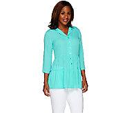 Linea by Louis DellOlio Woven Boho Tiered Tunic with 3/4 Sleeve - A264621