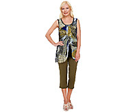 Women with Control Printed Chiffon Overlay Top and Capri Pants Set - A265421