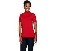 Susan Graver Weekend Cotton Modal Short Sleeve Mock Neck Top - A268021
