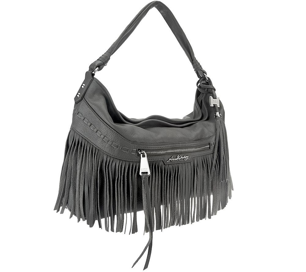 Aimee Kestenberg Pebble Leather Fringe Hobo - Lulu - Page 1 — QVC.com