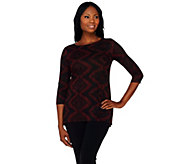 Attitudes by Renee Hi-Low Hem 3/4 Sleeve Jacquard Top - A269621