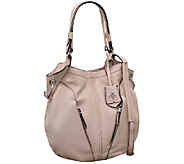 As Is orYANY Italian Grain Leather Hobo - Victoria - A270121