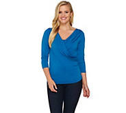 Shape FX 3/4 Sleeve V-Neck Bodysuit with Ruching Detail - A272121