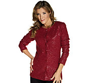 As Is Joan Rivers Sequin Embellished Cardigan - A272521