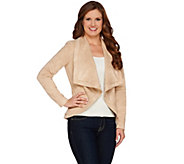 H by Halston Faux Suede Long Sleeve Open Front Jacket - A273321